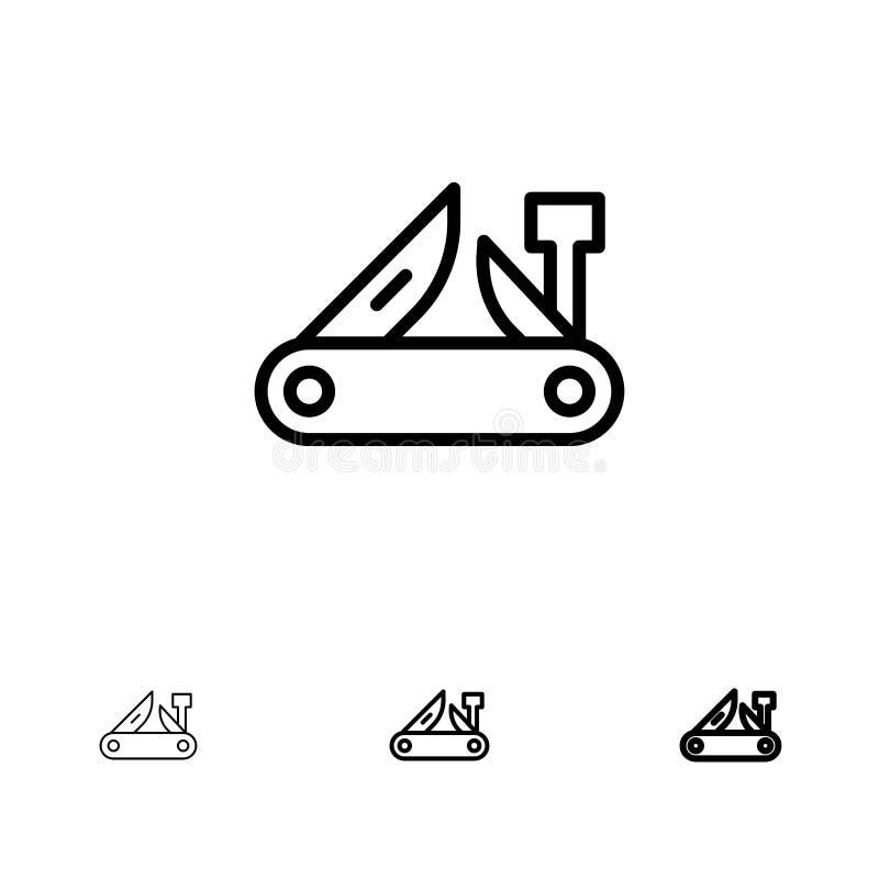 Armée, couteau, outil multi, couteau de poche, ligne noire audacieuse et mince suisse ensemble d'icône illustration libre de droits