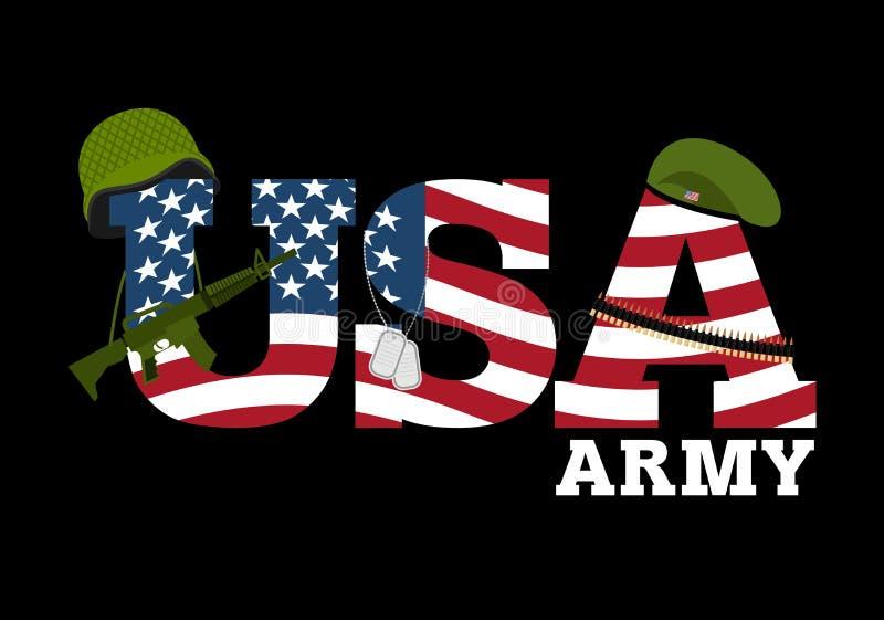 ARMÉE D'ETATS-UNIS Équipement militaire de l'Amérique Logo pour Amer illustration de vecteur