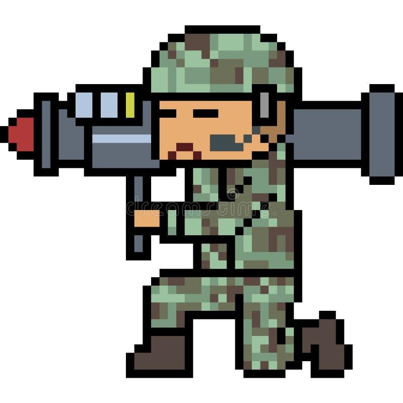 Armée de bazooka d'art de pixel de vecteur illustration libre de droits