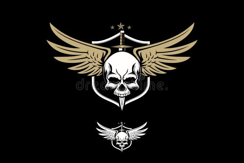 Armée de crâne avec le calibre de logo d'insigne de vecteur d'étoile et de bouclier d'aile illustration libre de droits
