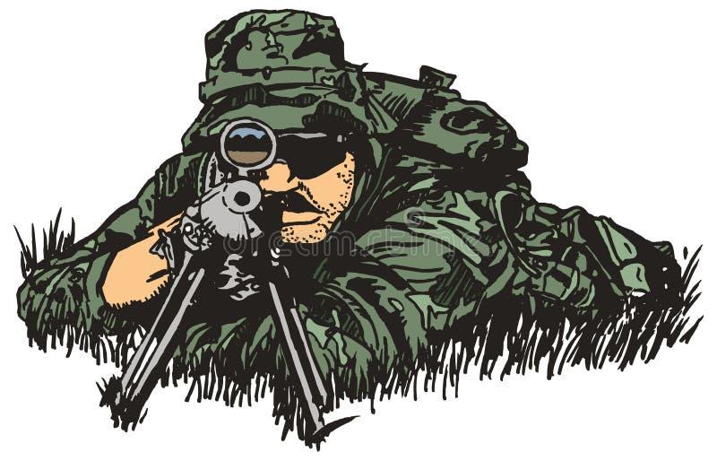 Armée de tireur isolé. illustration libre de droits