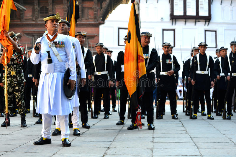 Armée royale de Nepali à Katmandou photos stock