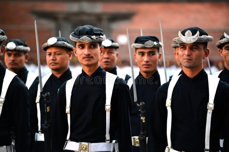 Armée royale de Nepali à Katmandou image stock