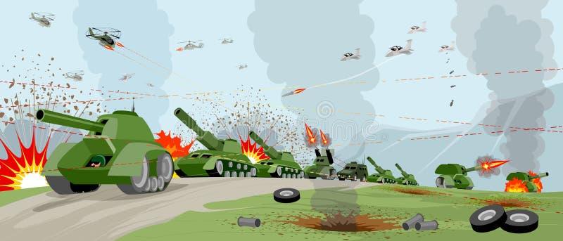 Arméer på slagfält stock illustrationer