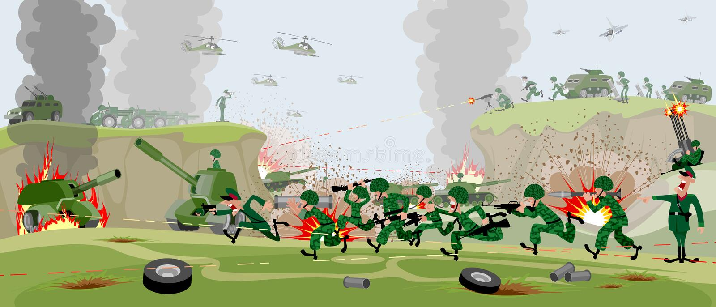 Armées sur le champ de bataille illustration de vecteur