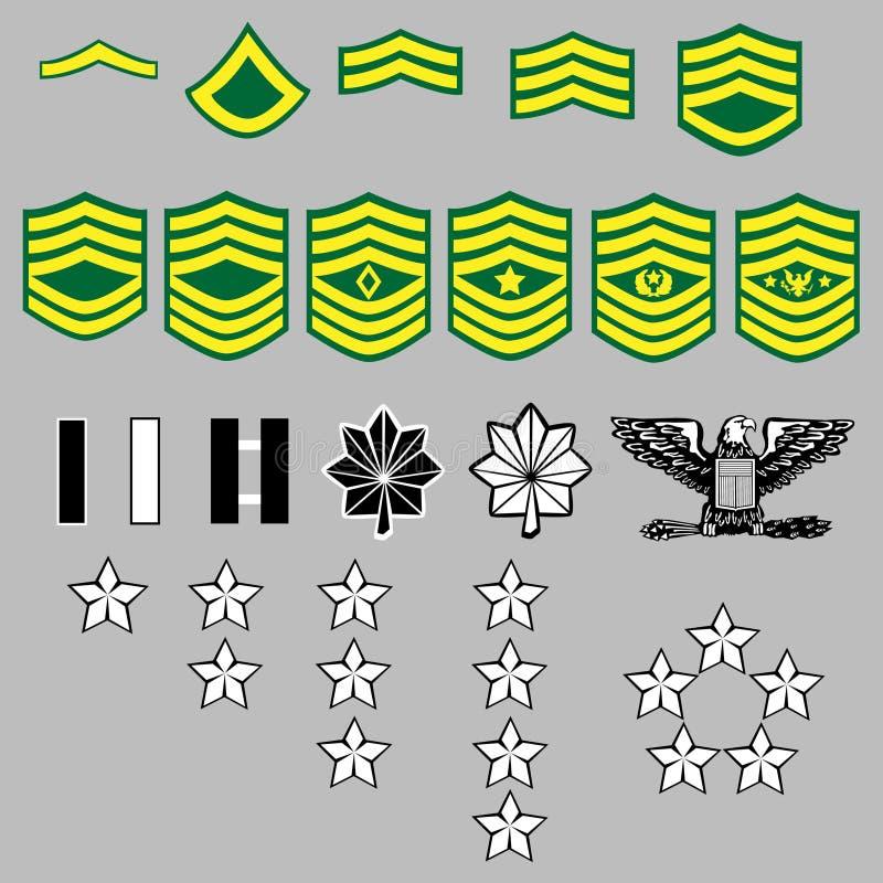 armégradbeteckningrank oss royaltyfri illustrationer