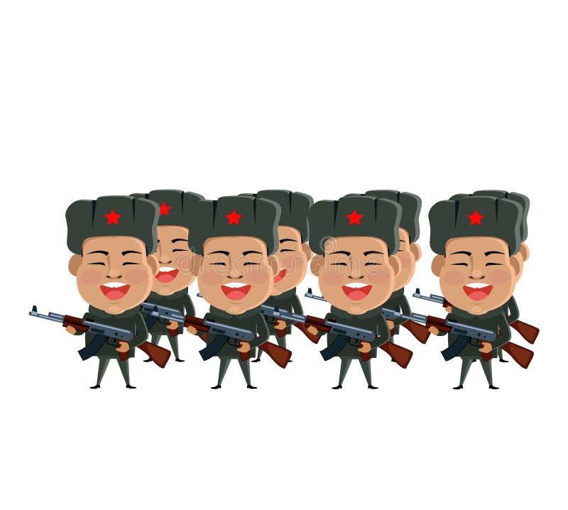 Armén tjäna som soldat konturn royaltyfri illustrationer