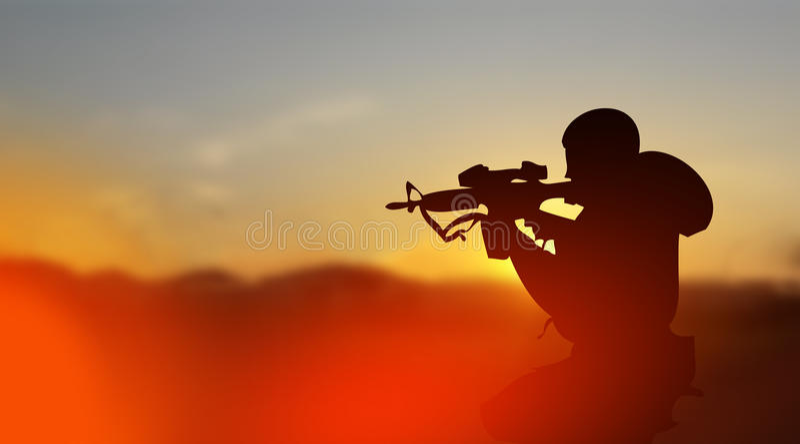 Armésoldat i konfliktzonbegrepp stock illustrationer