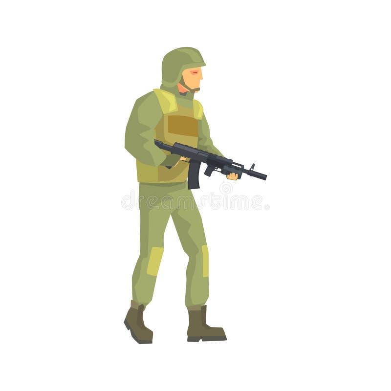 Armésoldat Män i kamouflage bekämpar den enhetliga teckenvektorillustrationen vektor illustrationer