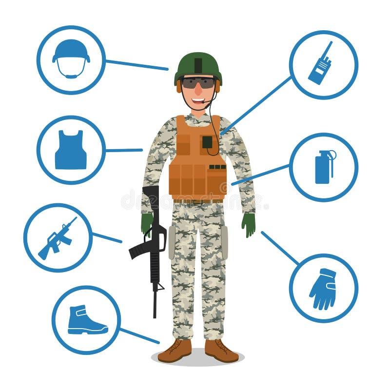 Armésoldat med militär utrustning Hjälm radio, vapen, granat, kulprovexemplarkevlar väst royaltyfri illustrationer