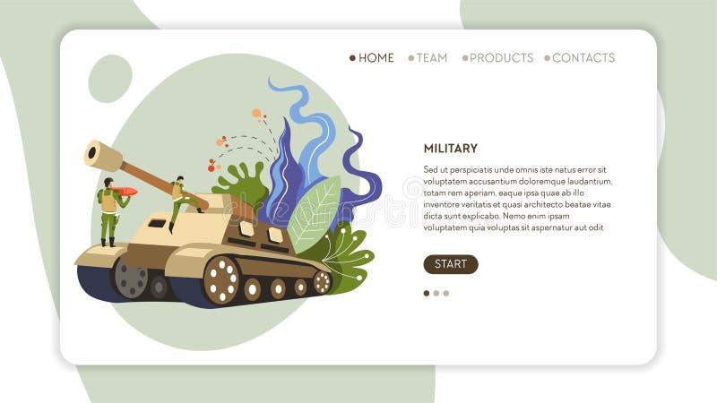 Armésoldater i likformig- och behållarewebbsidamall stock illustrationer