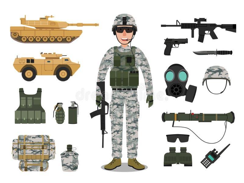 Armésoldattecken med militärfordonet vektor illustrationer