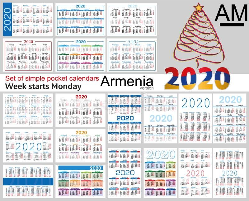Armênia ajustou-se de calendários do bolso para 2020 ilustração do vetor