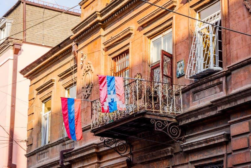 Armênio e Nagorno Karabakh Flags fotografia de stock royalty free