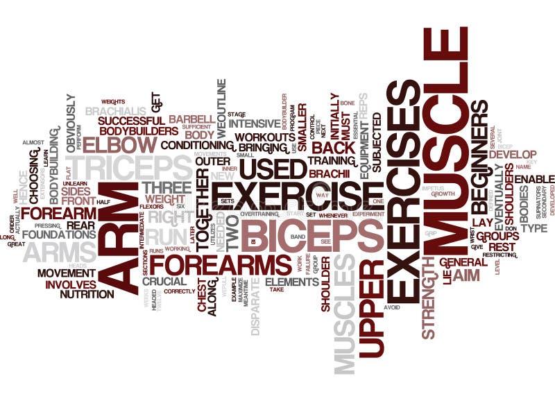 Armövning för för ordmoln för stora armar begrepp stock illustrationer