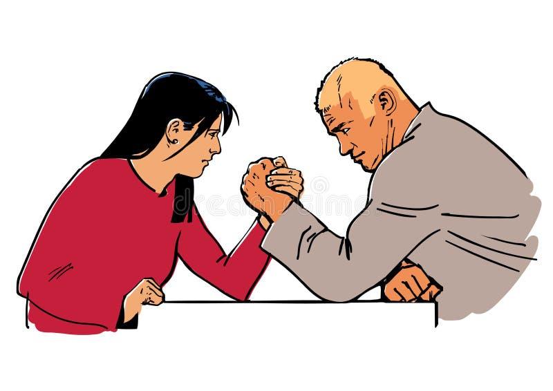 arm den konkurrera dagmannen utanför solig kvinnabrottning stock illustrationer