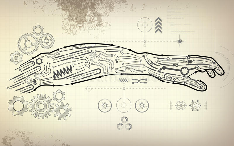 Arm stock vector illustration of design interface cybernetics drawing blueprint of robot hand scientific interface futuristic backdrop abstract technology background malvernweather Images