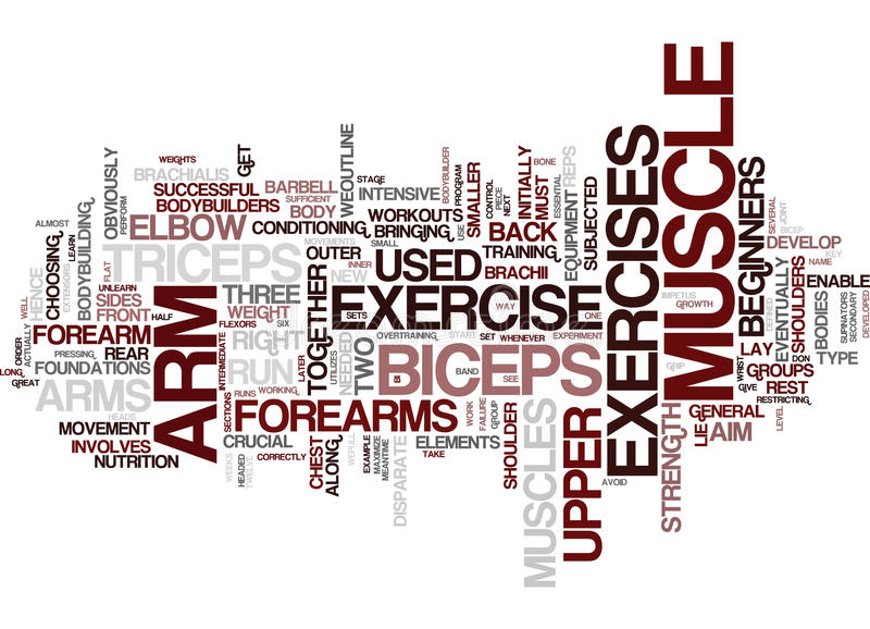 Arm Exercise For Great Arms Word Cloud Concept vector illustration