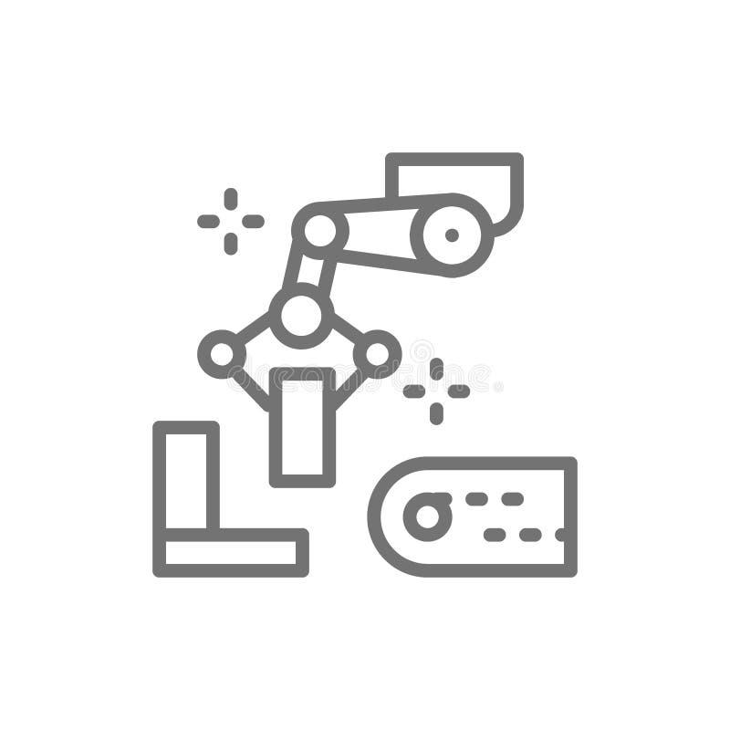 Arm för Robotic manipulator med metalldelar, metallurgiproduktionslinjesymbol royaltyfri illustrationer