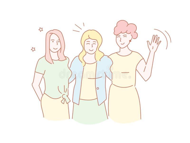 Arm för tre kvinnlig vänner i armen som kramar, kamratskapvektor Linjen konst isolerade konst på vit bakgrund plant vektor illustrationer