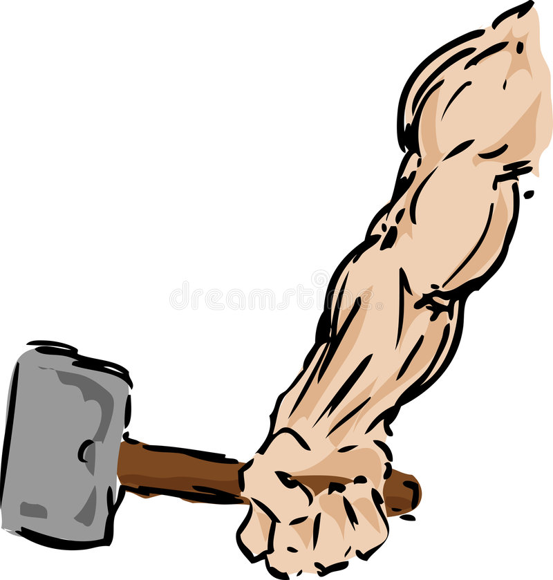 Arm with hammer. Muscular arm holding a hammer, sketch illustration vector illustration