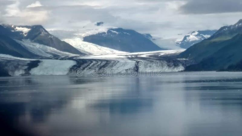 Arm Harvard-Gletscher-College-Fjord-Alaskas Harvard mit Schnee umfassten Bergspitzen und ruhiger Pazifischer Ozean mit Eisbergen  stockfotos