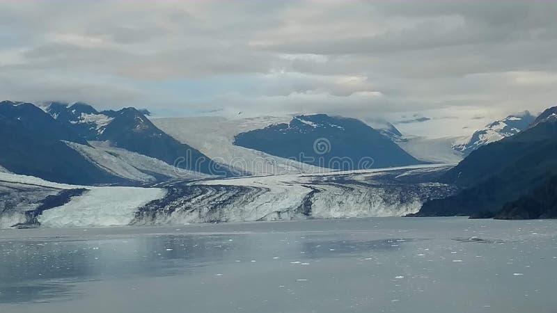 Arm Harvard-Gletscher-College-Fjord-Alaskas Harvard mit Schnee umfassten Bergspitzen und ruhiger Pazifischer Ozean mit Eisbergen  lizenzfreies stockbild