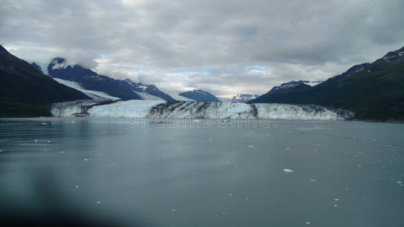 Arm Harvard-Gletscher-College-Fjord-Alaskas Harvard mit Schnee umfassten Bergspitzen und ruhiger Pazifischer Ozean mit Eisbergen  lizenzfreies stockfoto