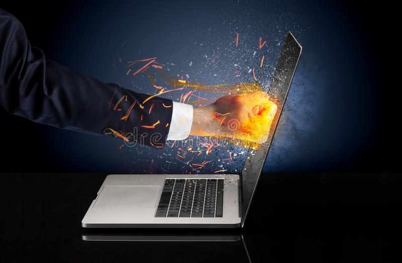 Arm hitting strongly laptop screen. Which breaks in little pieces stock images
