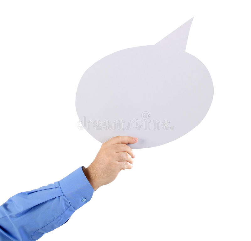 Arm holding a speech bubble