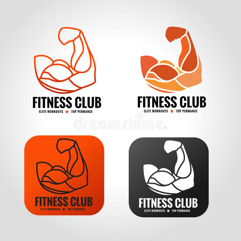 Arm muscle. Vector logo design for fitness gym stock illustration