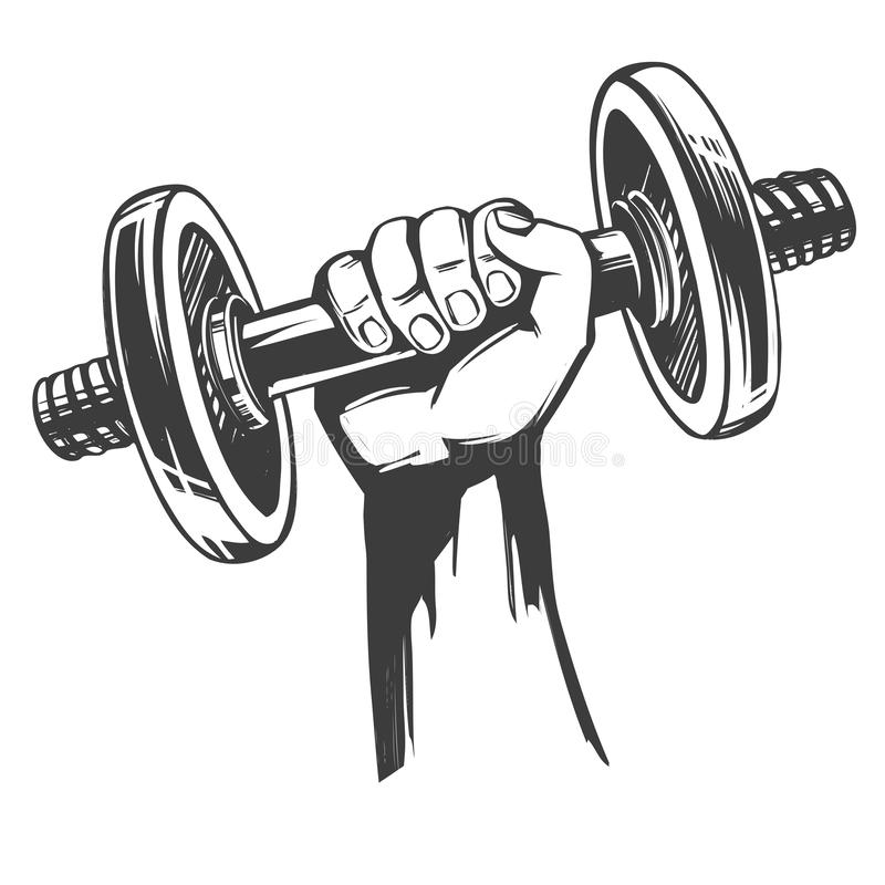 Free Arm, Strong Hand Holding A Dumbbell, Icon Cartoon Hand Drawn Vector Illustration Sketch Royalty Free Stock Photos - 148310508