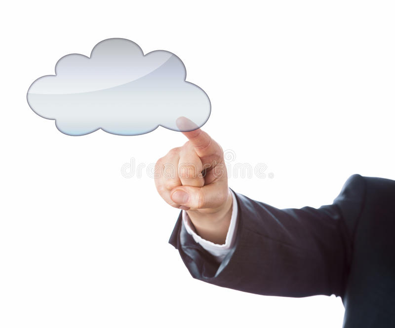 Arm In Suit Pointing At Cloud Computing Icon stock photo