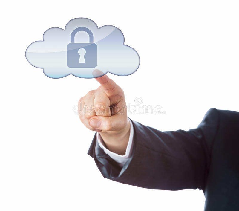 Arm In Suit Pointing At Secured Lock In Cloud Icon stock images