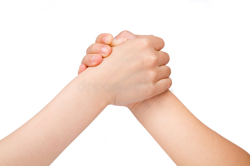 Arm wrestling. With white background stock photography