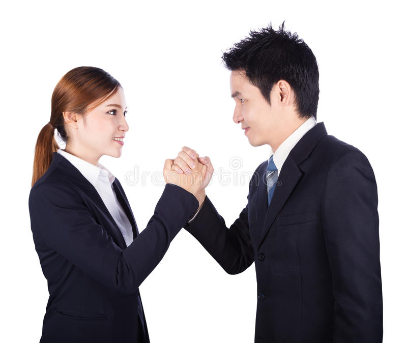 Arm wrestling between businessman and businesswoman isolated on. White background stock photos