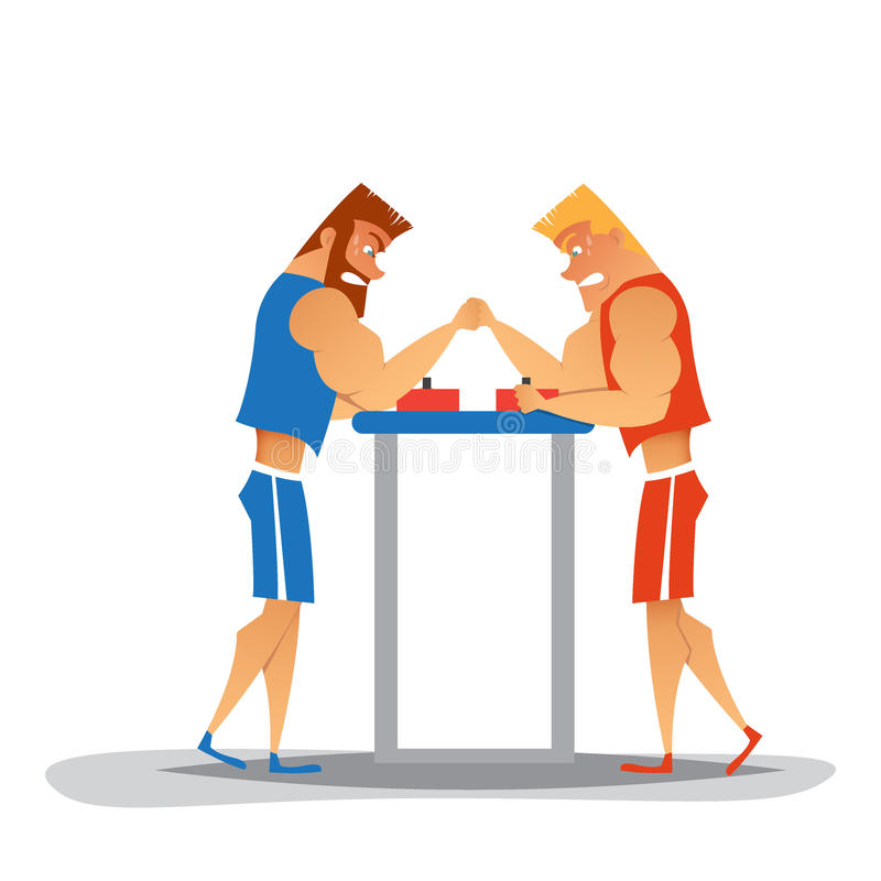 Cartoon Character Design Competition : Arm wrestling competition stock vector illustration of
