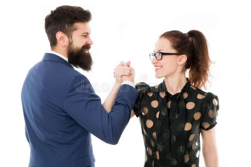 Arm wrestling couple. Confrontation in office. defeat and victory. businessman and business woman leadership. Arm wrestling couple. Confrontation in office stock photo