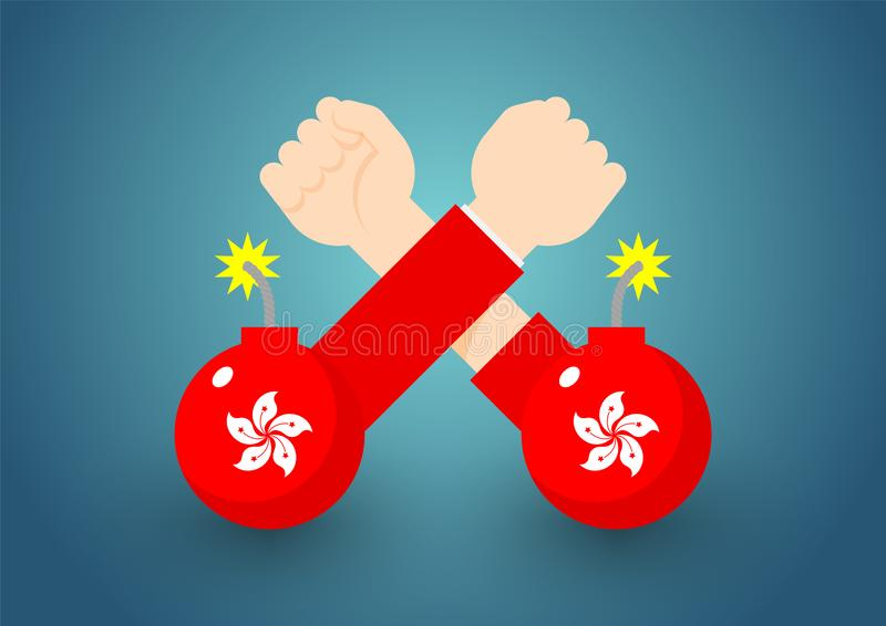 Arm wrestling Government and citizen hand with bomb of Hong Kong flag, Protest extradition legal problem concept poster and social. Banner post design vector illustration