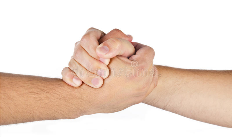 Arm wrestling hands of two men isolated royalty free stock images