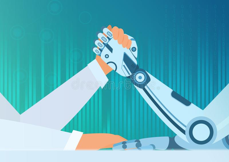 Arm wrestling human with a robot. Artificial Intelligence vector concept. Struggle of man vs robot. stock illustration