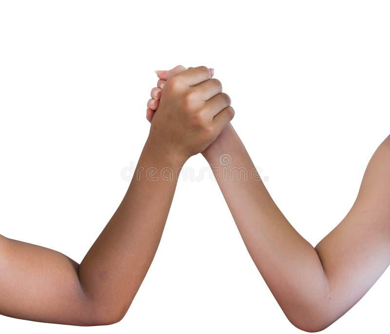 Arm wrestling. Isolated on white background royalty free stock images