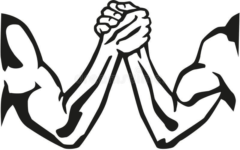 Arm wrestling silhouette stock illustration