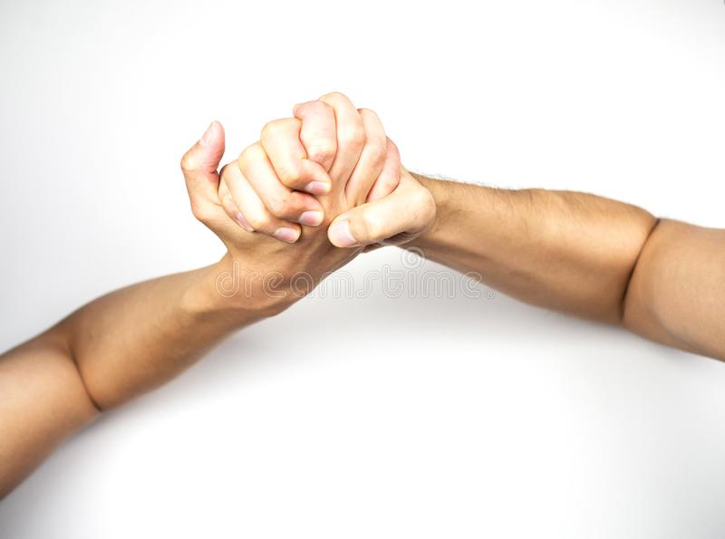 Arm wrestling top view on white background.  royalty free stock images
