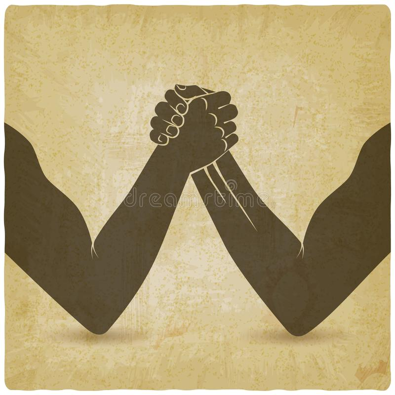 Arm wrestling. Two men hands shaking silhouette vintage background. Vector illustration - eps 10 stock illustration