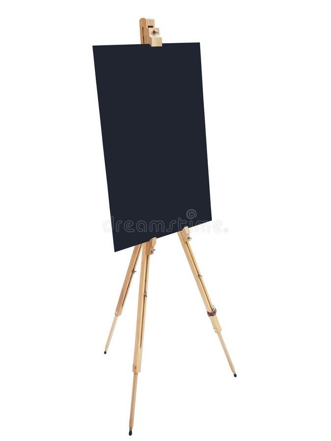 Armação de madeira do suporte do quadro-negro com o isola vazio da placa do sinal do cartaz foto de stock royalty free