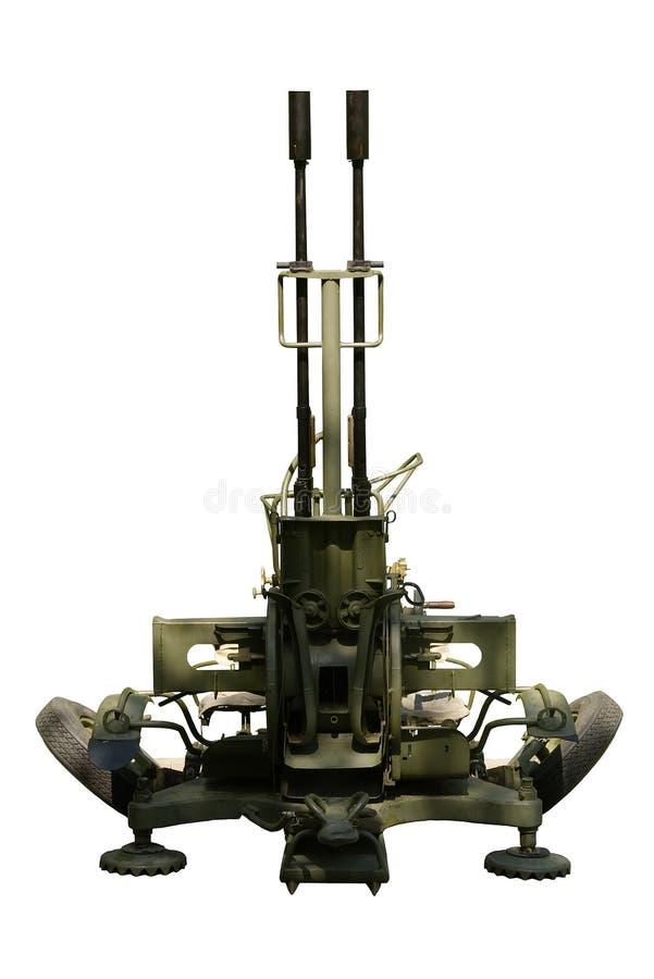 Arma antiaéreo ZU-23-2 Fondo blanco, aislamiento imagen de archivo libre de regalías