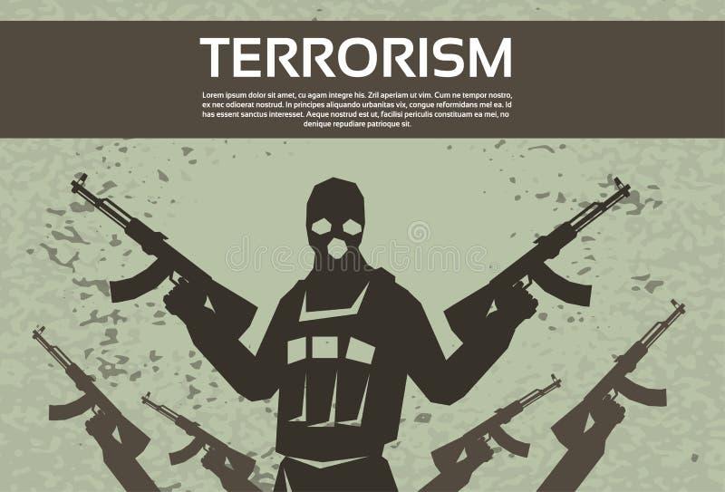 Arma armada de Black Mask Hold do terrorista do terrorismo ilustração royalty free