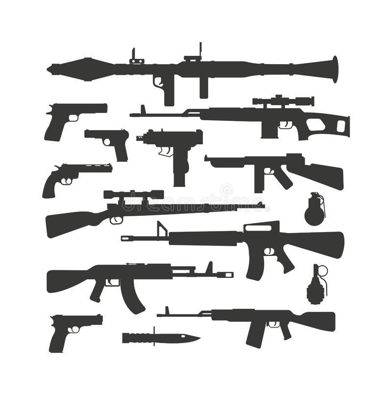 A arma automática militar diferente da coleção da arma disparou no vetor da bala da polícia da silhueta das máquinas ilustração royalty free