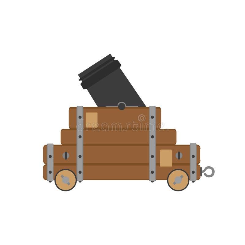 Arma civil da antiguidade do vintage da ilustração da arma da artilharia do vetor da guerra do canhão ilustração do vetor